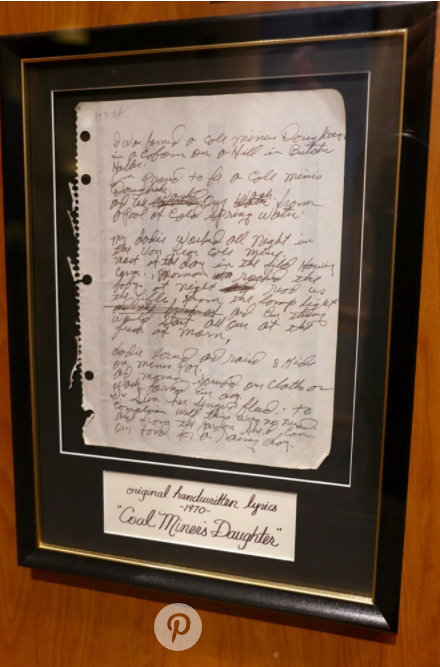 "Lynn's original handwritten lyrics to ""Coal Miner's Daughter,"""