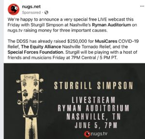 Sturgill Simpson Announces Livestream From Nashville's Ryman Auditorium